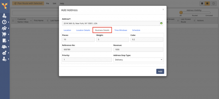 Creating a New Entry/Contact in the Route4Me Address Book List
