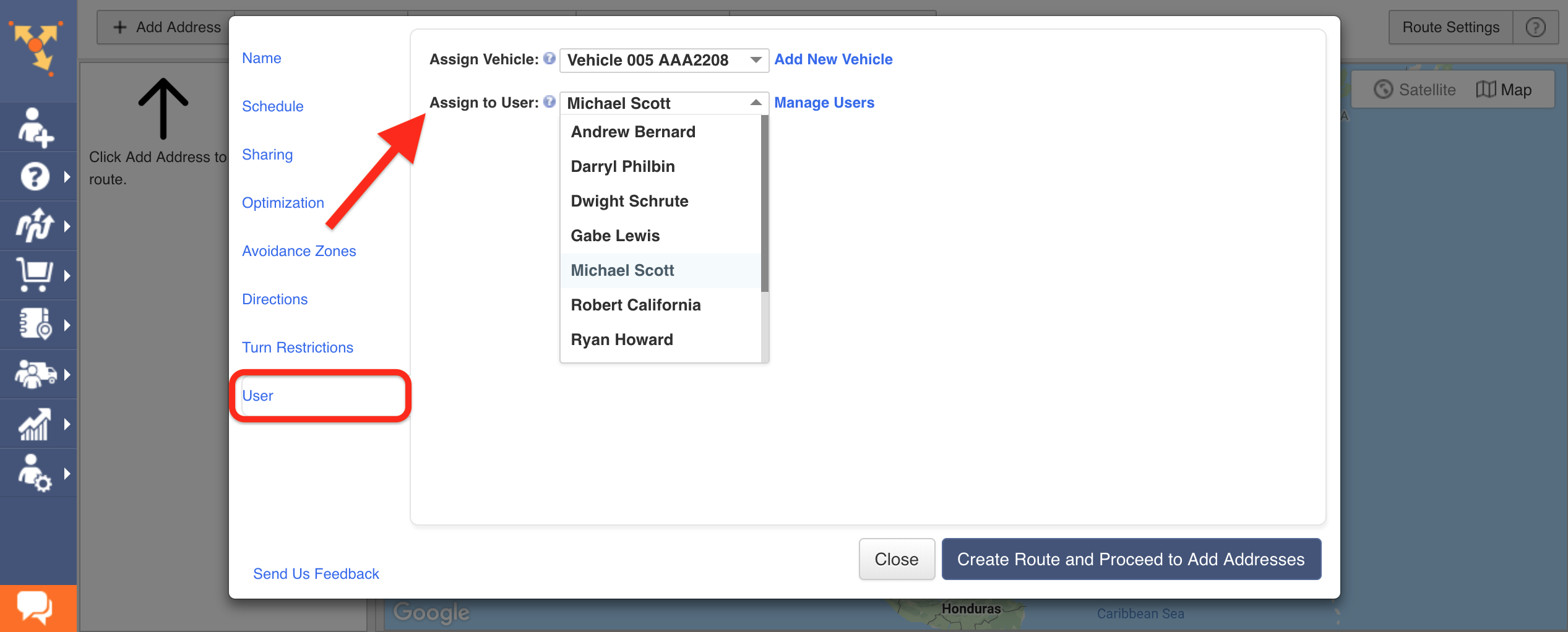Showing how to select the user that you want to assign to the route in Route4Me route planner