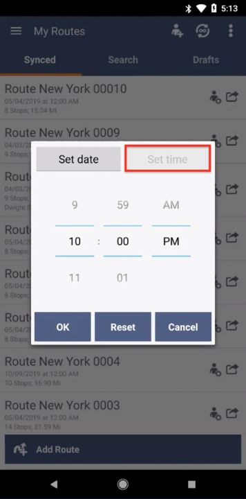 Managing Your Routes on an Android Device