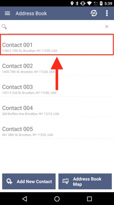 Inserting an Address Book Contact into a Route on Your Android Device