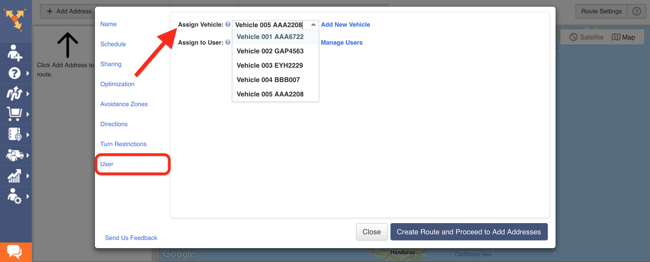 Showing how to assign vehicles and users to a route in Route4Me route optimizer