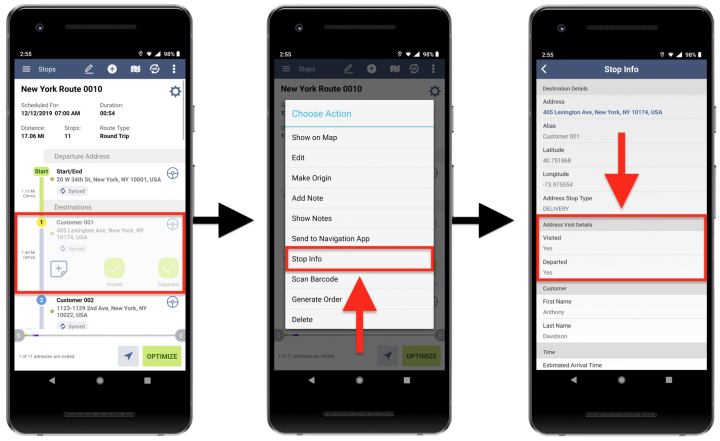 Marking Addresses as Visited and Departed on Android Devices
