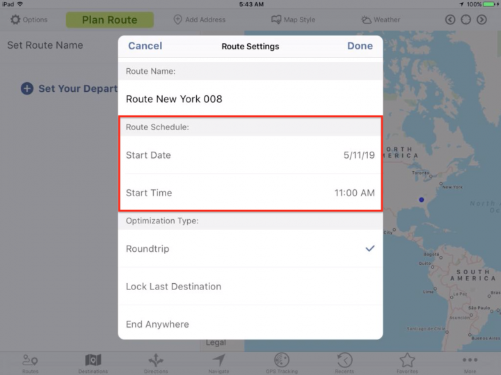 Planning a New Route on Your iPad