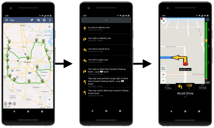 Route4Me In-App Navigation - Navigating Routes with Route4Me's Integrated Navigation on Android Devices