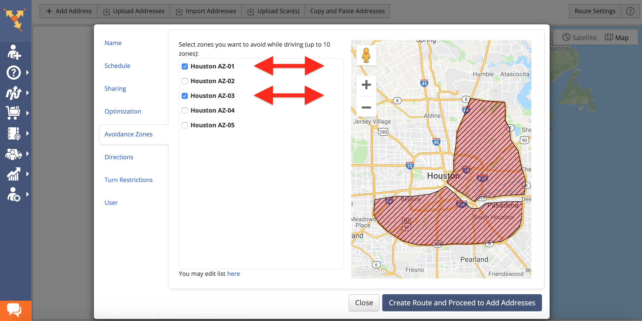 Showing how to apply one or multiple Avoidance Zones to a route in Route4Me route planner app