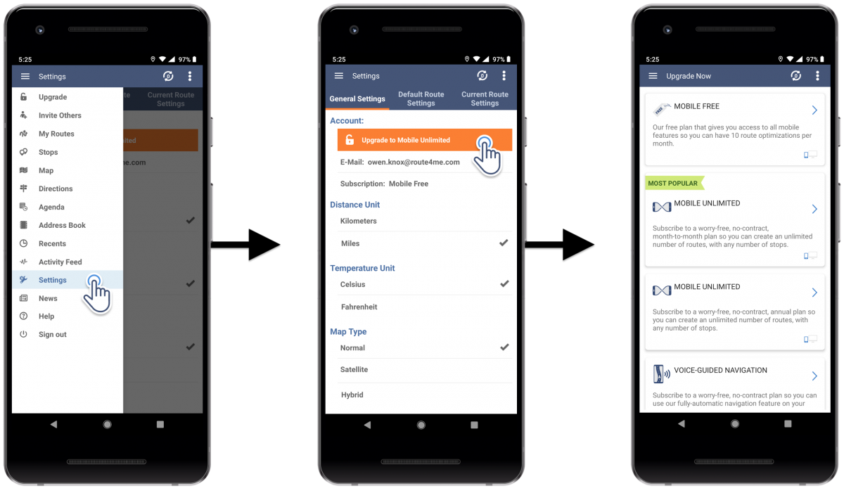 Registering for a New Route4Me Mobile AccountUsingRoute4Me's Android Route Planner on Your Android Smartphone (Getting a Subscription Plan)