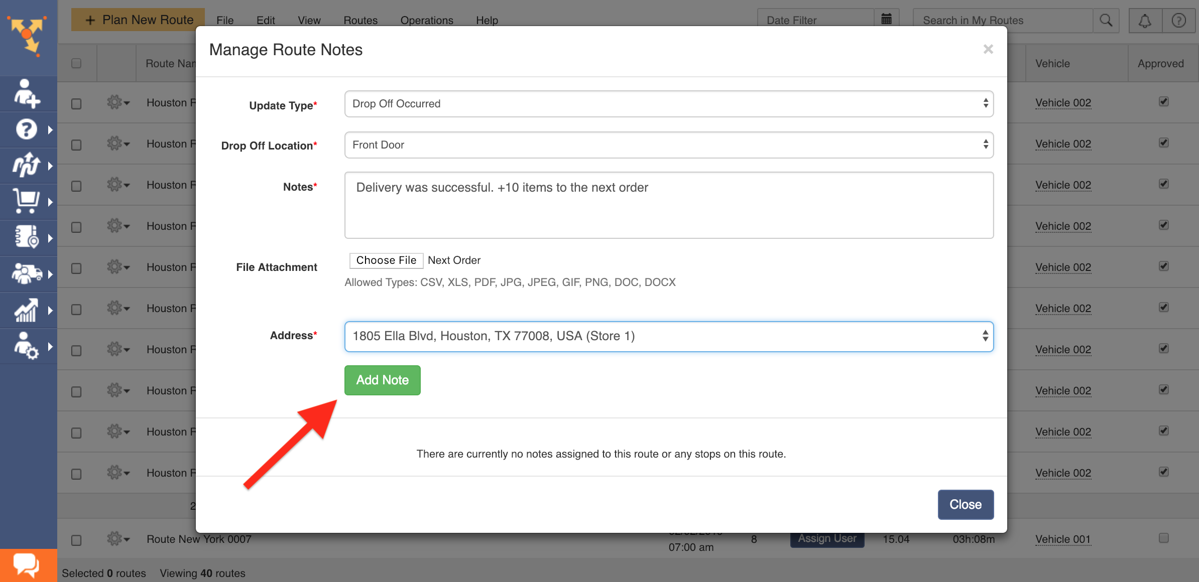 Showing how to use Route4Me's Add Note feature