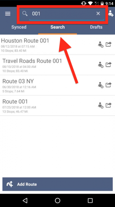 Viewing and Opening Routes and Stops on an Android Device