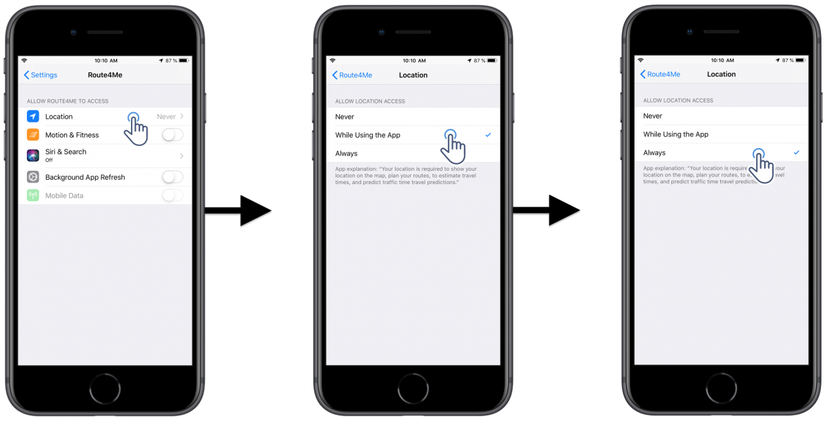 iOS App Permissions - Adjusting the Permissions of Route4Me's iOS Route Planner on Your iPhone (Location, Camera, Contacts, etc.)