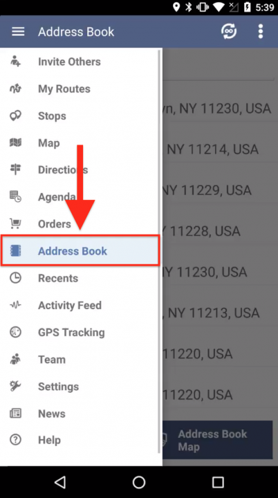 Generating Orders from the Contacts in Your Address Book for Planning Routes