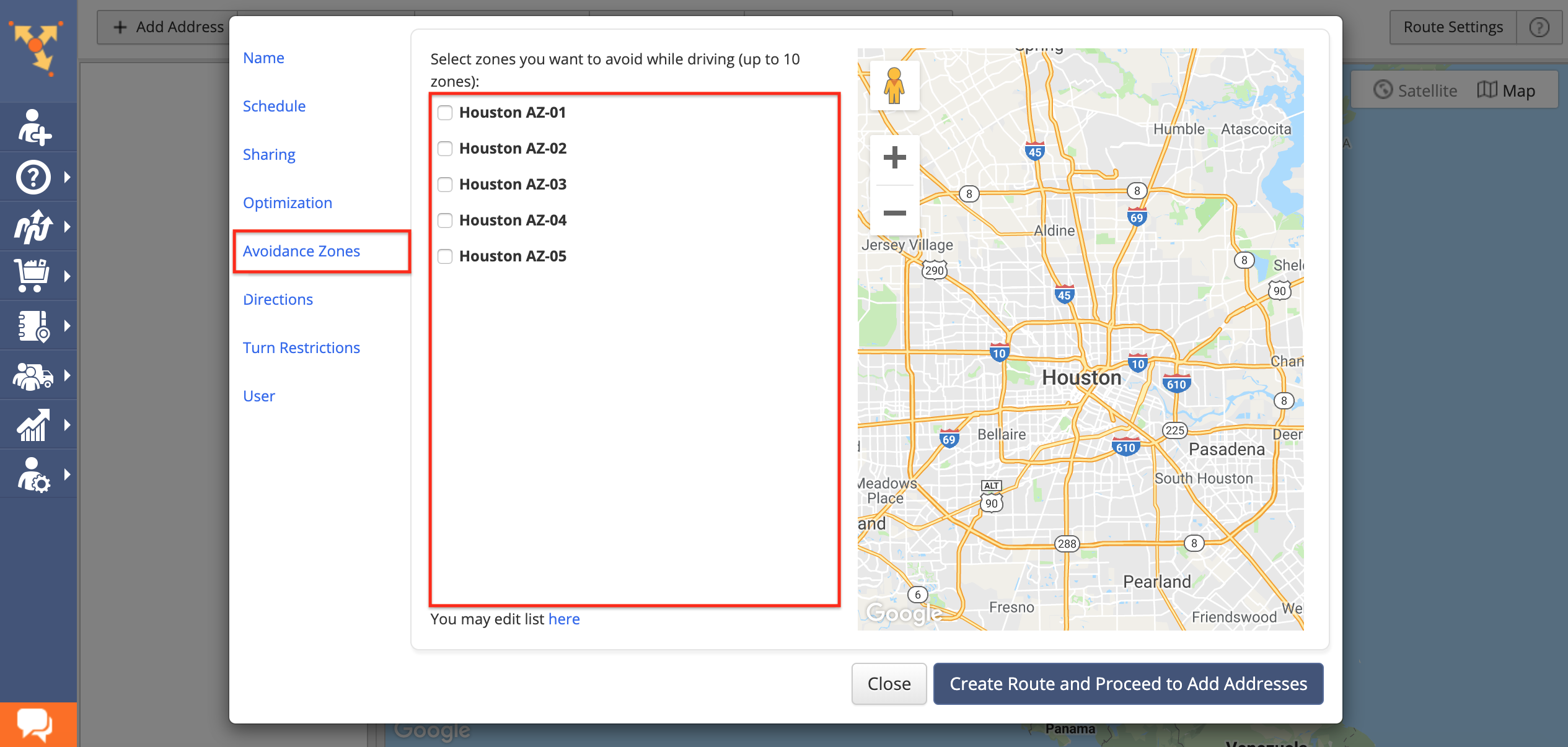 Showing how to create custom-shaped Avoidance Zones in Route4Me route planner