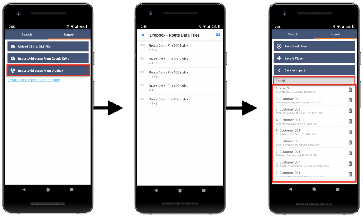 Importing Spreadsheets with Addresses from Your Android Device, Google Drive, and Dropbox for Planning Routes