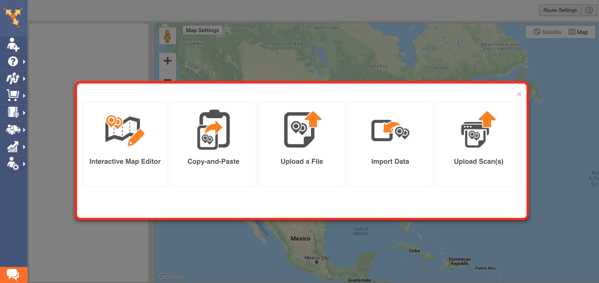 Showing the five ways to upload customer addresses in Route4Me delivery scheduling software