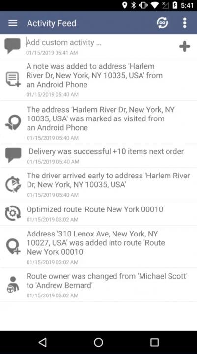 Using Route4Me Activity Feed on an Android Device