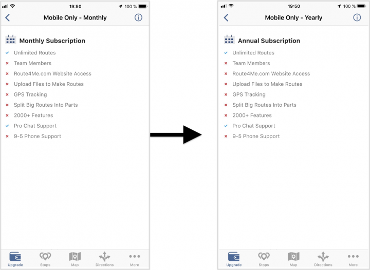 Understanding Route4Me Mobile Subscription Plans on an iPhone