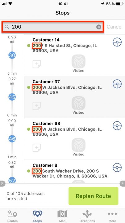 Using Stops Search in Opened Routes on Your iPhone