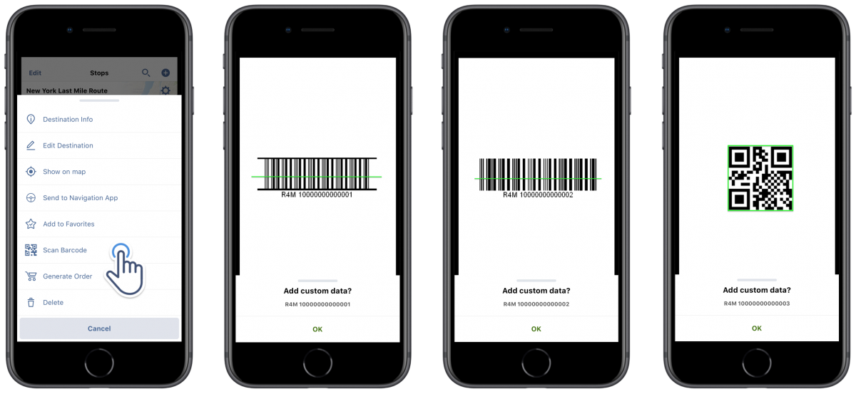 Barcode scanner on Route4Me's iOS Route Planner app can scan multiple types of barcodes.