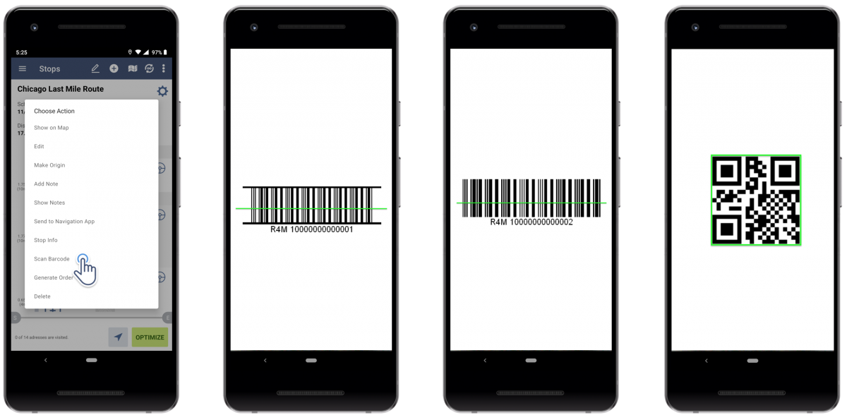 Barcode scanner on Route4Me's Android Route Planner app can scan multiple types of barcodes.