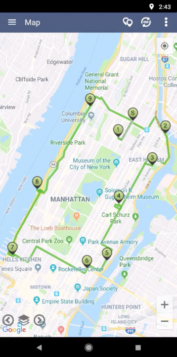 Using the Map for Adding Stops to Your Routes on an Android Device