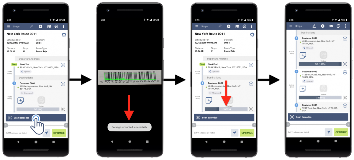 Barcode Reconciliation for Android Devices - Route4Me's Android Route Planner