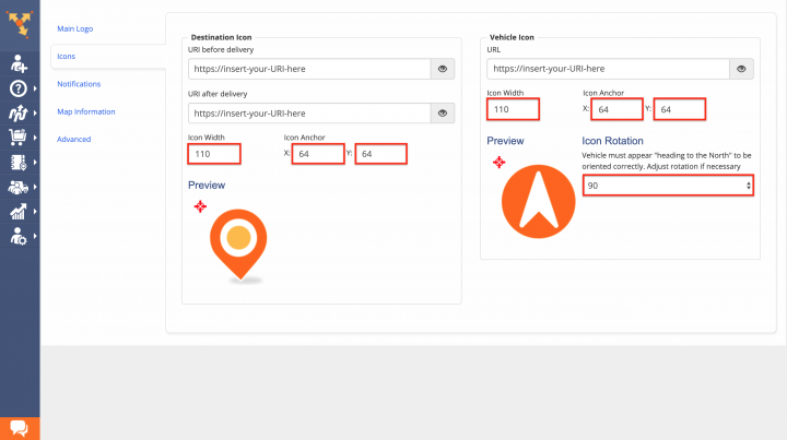 Setting Up Driver and Customer Icons for the Order Tracking Portal