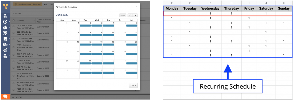 When importing a spreadsheet with recurring schedules, you can upload weekly schedules only.
