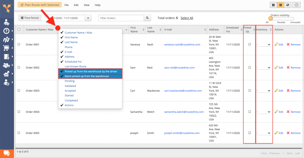 Click on the header in the Orders List to display the preferred order statuses and custom fields.