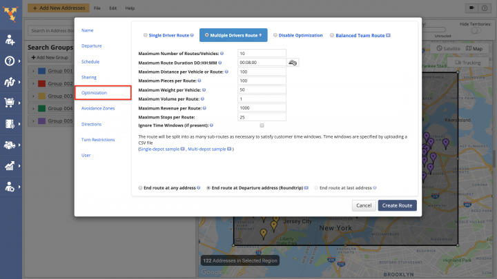 Planning Routes with Advanced Search Groups