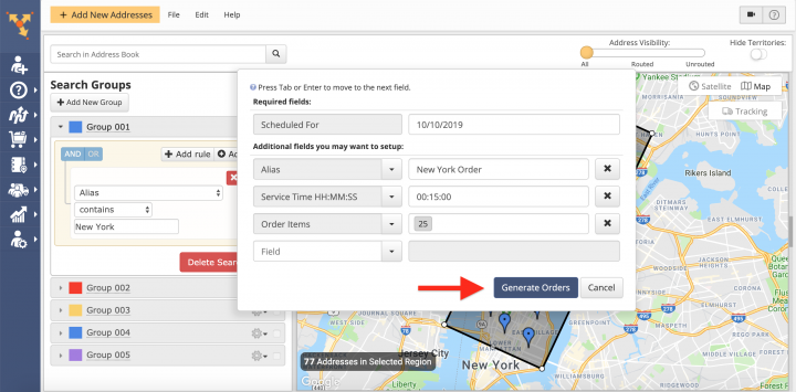 Generating Orders from Advanced Search Group Addresses and Contacts