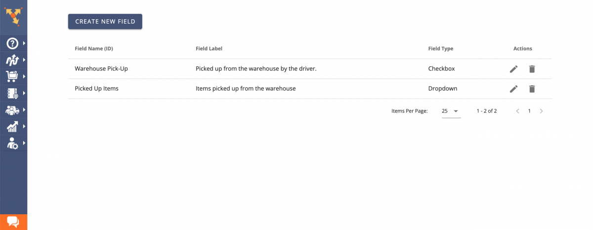 You can manage your Dropdown and Checkbox Custom Order Fields using the corresponding buttons.
