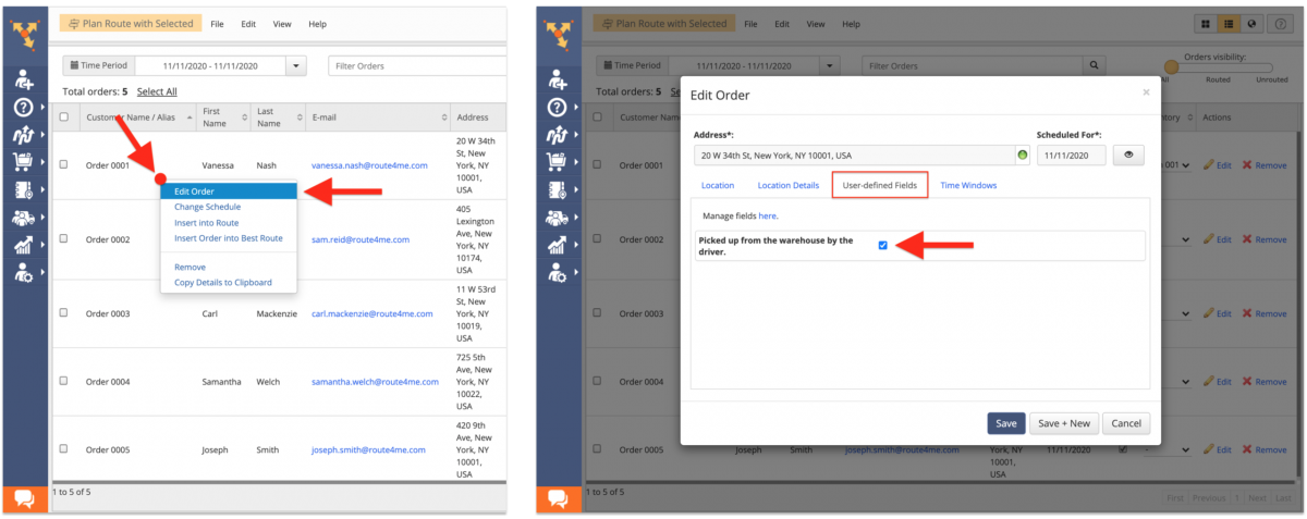 When editing an order, select the available Custom Order Fields in the User-Defined Fields tab.
