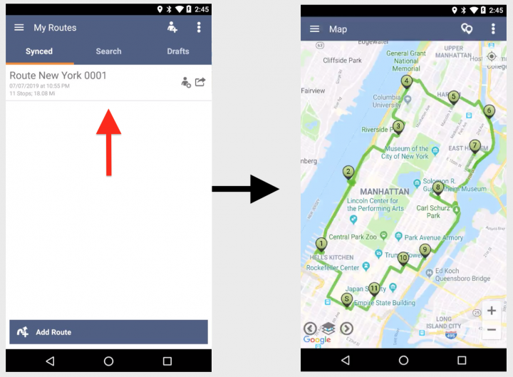 Dispatching Routes to Mobile Devices (Android and iPhone)