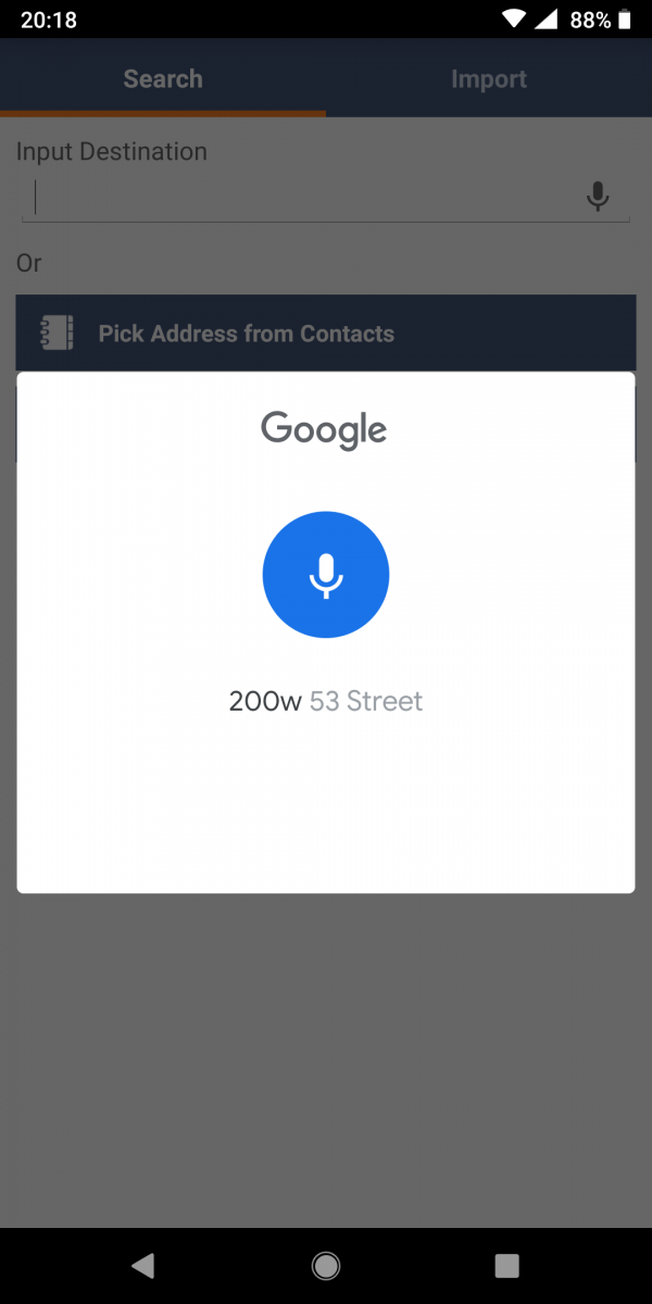 Using Voice Commands for Adding New Addresses to Routes (Android)