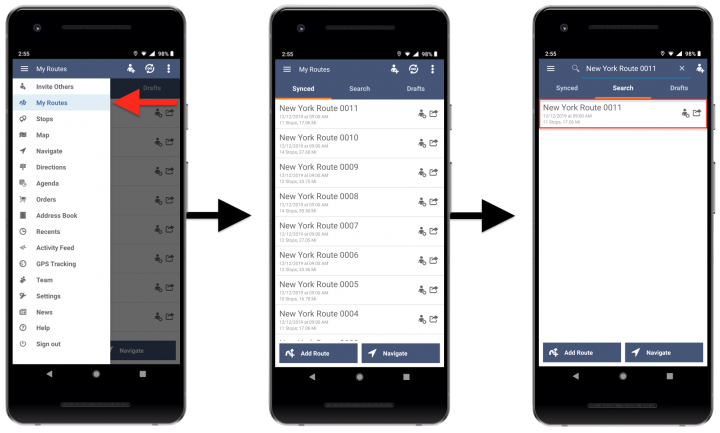 Deleting Route4Me Routes from an Android Device - Route4Me's Android Route Planner