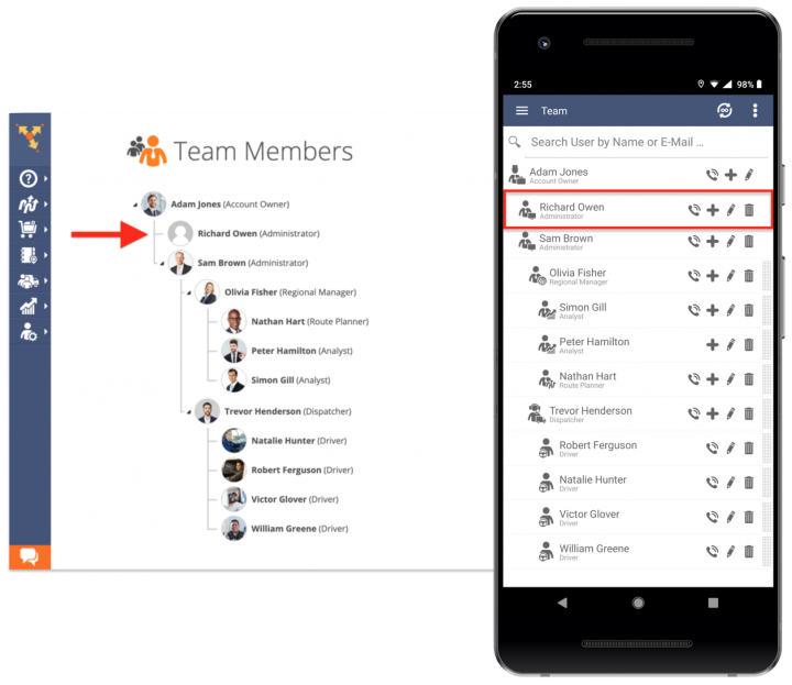 Creating New Account Users/Team Member Accounts Using an Android Device
