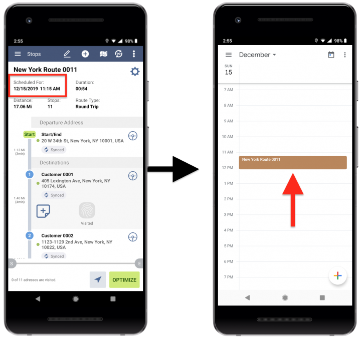 Adding Route4Me Routes to Your Google Calendar and Third-Party Calendar Apps - Route4Me's Android Route Planner