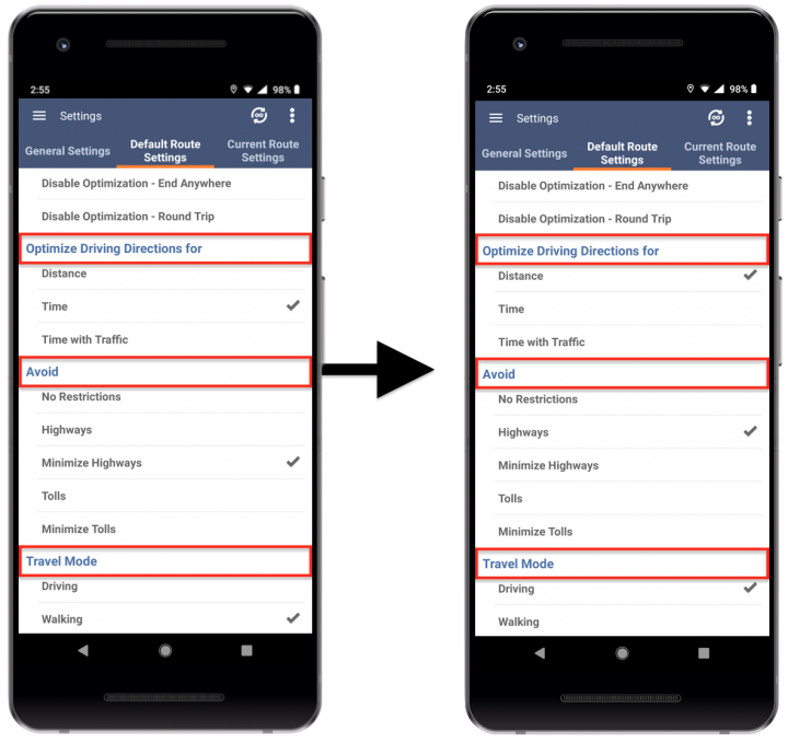 Adjusting the Default Route Settings (Optimization Settings) on Route4Me's Android Route Planner