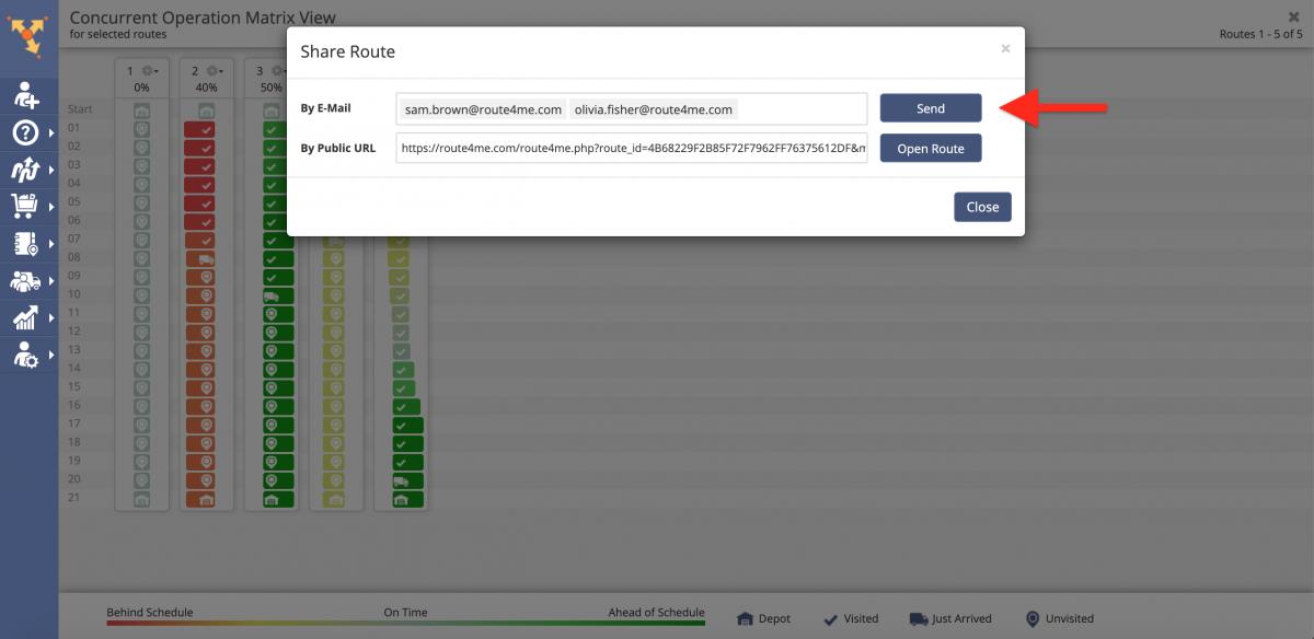 Route4Me Operation Matrix (Concurrent Operation Matrix View)