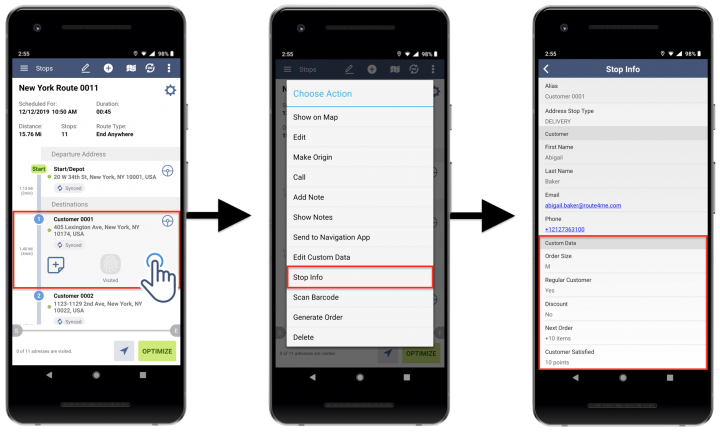 Android Custom Data - Viewing and Editing Custom Data Attached to Route Stops on Route4Me's Android Route Planner