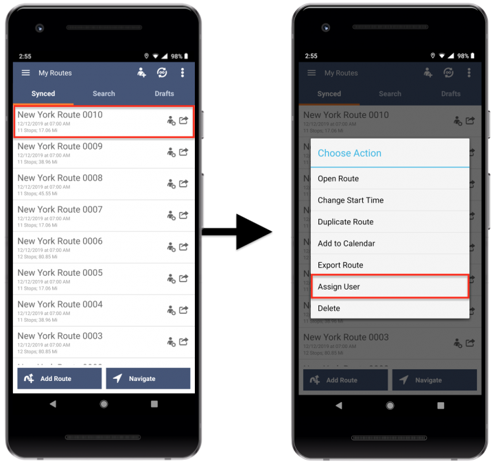 Assigning Team Members/Users to Routes Using the Route4Me Android App