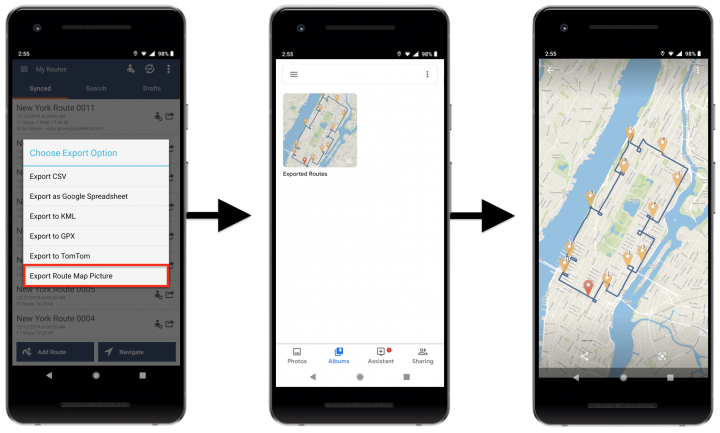 Exporting Route Data to Your Android Device and Google Drive - Route4Me's Android Route Planner