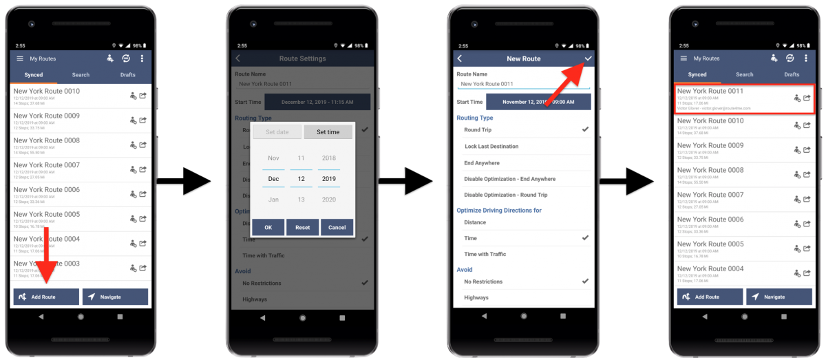 Scheduling and Rescheduling Routes - Route4Me's Android Route Planner