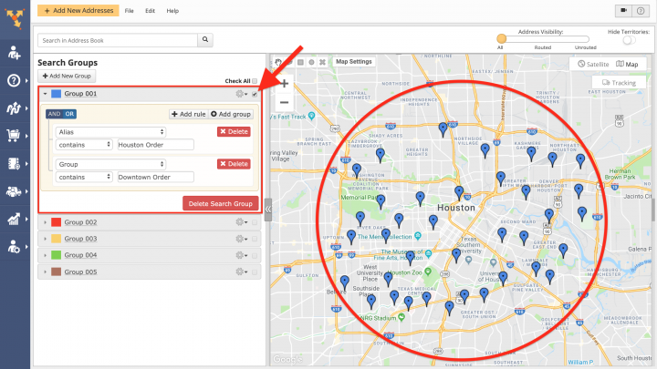 Inserting Addresses form Advanced Search Groups into the Best Routes (Dynamic Stop Insertion)
