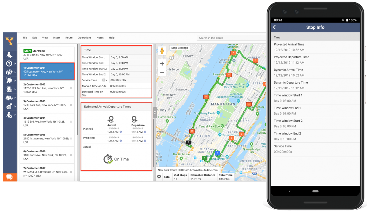 Android Stop Info - Viewing the Address, Customer, Time, Order, and other Information Attached to Your Route Stops Using Route4Me's Android Route Planner