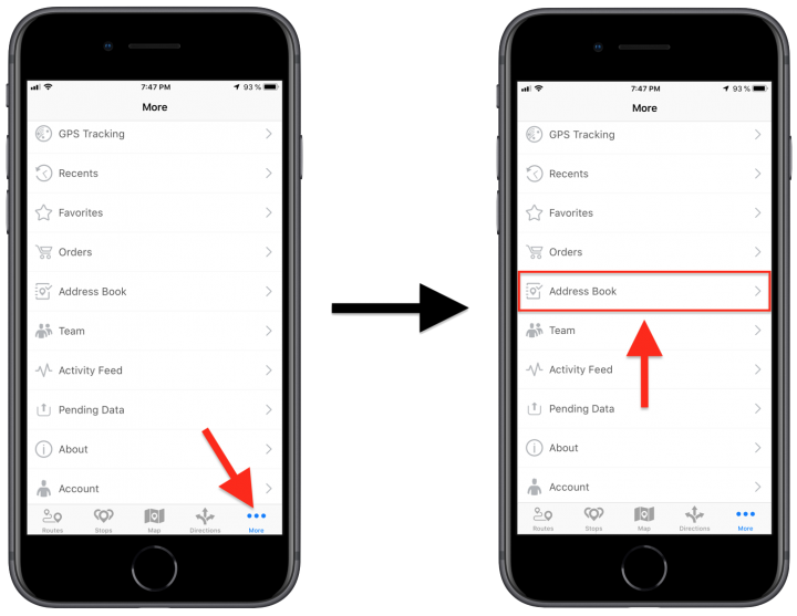 Deleting Address Book Contacts and Addresses Using the Route4Me iPhone App