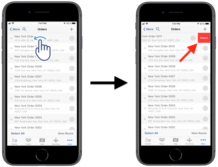 Deleting Orders Using Route4Me's iPhone Route Planner