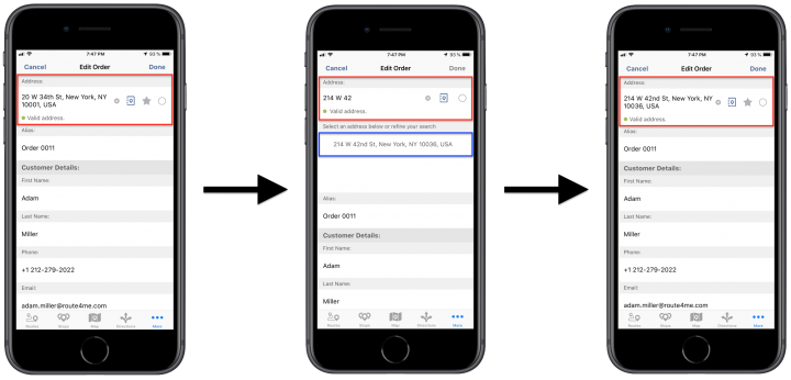 Editing Existing Orders Using Route4Me's iPhone Route Planner