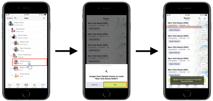 Assigning Team Members/Users to Routes Using the Route4Me iPhone App