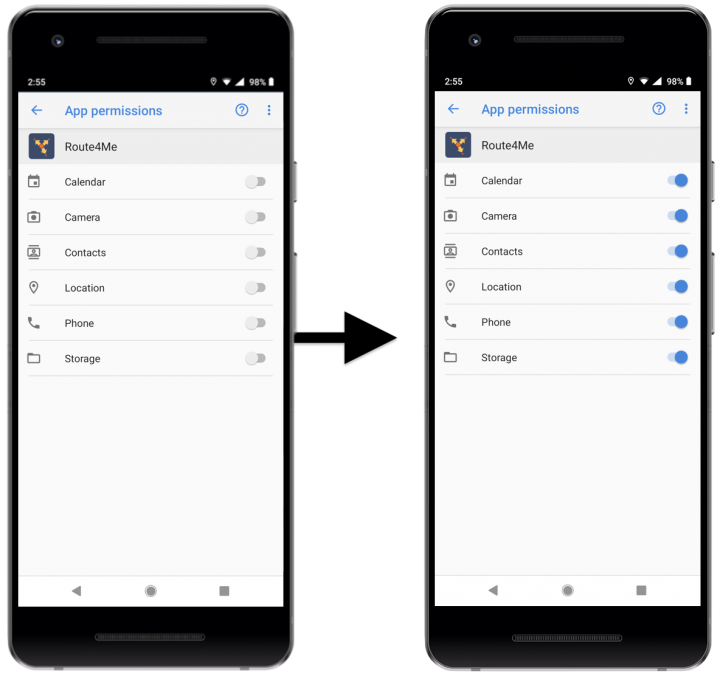Managing Data Access Permissions of the Route4Me Android Route Planner on Your Android Device