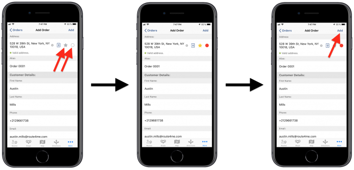Creating Orders Using Route4Me's iPhone Route Planner